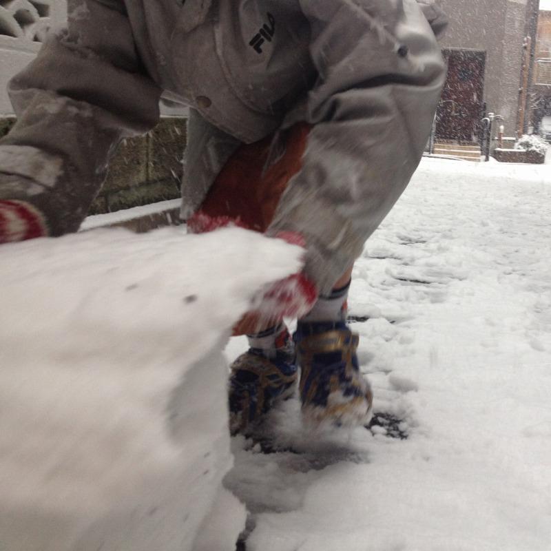 息子は大喜び。東京で積雪8cm。